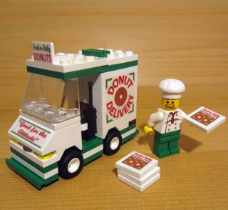 Custom Donut Delivery Set for Town City Train Police Lego Doughnut Food Truck
