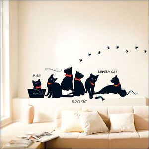 Cute Cats Decor Mural Art Sticker Wall Paper KR 0015
