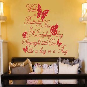 PD Butterfly Kiss Ladybug Hug Quote Art Wall Sticker Vinyl Decal Baby Room Paper