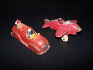 Vintage Sun Rubber Disney Toys Mickey Mouse Fire Engine Airplane Lot 2 Donald