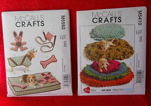 Dog Cat Kitten Puppy No Sew Fleece Pet Bed Coat Toys 2 Patterns M5552 M5410