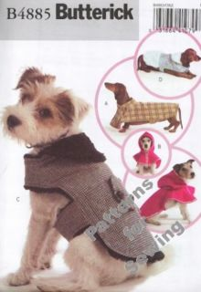 Pattern Butterick Sewing Crafts Dog Clothes Coats Hoodie Szs XS L New