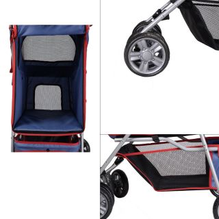 New Large Deluxe Folding 4 Wheels Pet Gear Dog Cat Carrier Stroller Navy