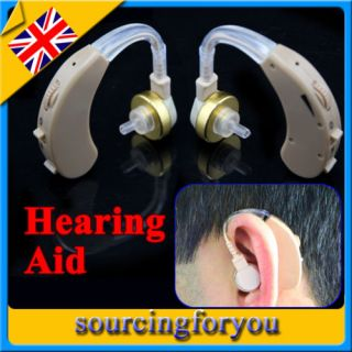 2 x Mini Hearing Aid Behind The Ear in Sound Voice Amplifier with Batteries UK