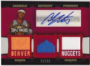 2007 Triple Threads Carmelo Anthony Auto Jersey D 36