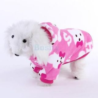 Pink Fluffy Hooded Pet Dog Pajamas Coat Clothes Sz XL