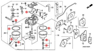 16010 ZW6 611 Honda Marine Carburetor Gasket Set for BF2D and BF2 3D