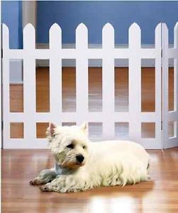 Wide Pet Gate Folding Picket Fence Baby Walk Safety thru Door Child White Dog