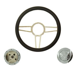 "GM 14"" Chrome Black Leather Spear Steering Wheel Adapter Flamed Horn Button"