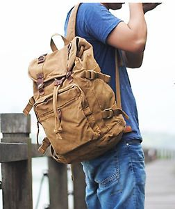 Women's Men's Vintage Canvas Leather Backpacks Satchels Shoulder Bag Rucksack