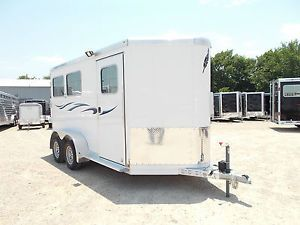 FeatherLite Model 9409 14ft Enclosed Aluminum 2 Two Horse Slant Load Trailer