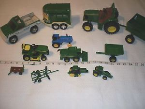 Large Lot of 11 John Deere Tractors Trailers Truck Horse Trailer Green
