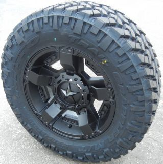 "20"" Black Rockstar 2 Wheels Rims Nitto 35"" Trail Grappler Tundra Dodge RAM 1500"
