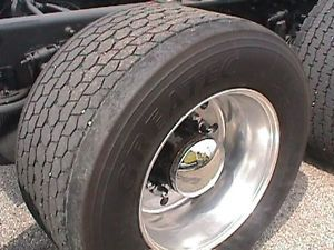 4 Used Super Single Virgin Truck Tires Rims Bridgestone Michelin 445 50R22 5