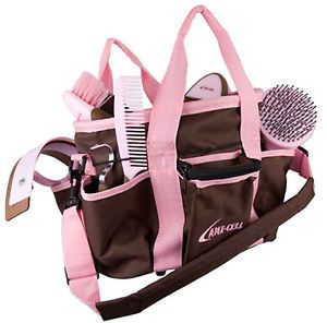 Horse Pony Grooming Kit 6 Piece Two Toned Pink Brown Grooming Tote Lami Cell