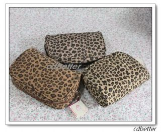 Women Bling Leopard Print Cosmetic Make Up Beauty Storage Bags Cases with Mirror