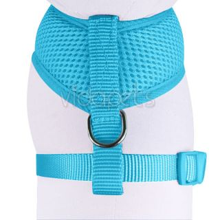 "14 19"" Girth Blue Soft Mesh Comfort Dog Harness Vest Collar Small"