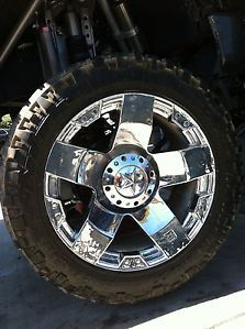 "24"" 8x165 Chrome Wheels Tires Chevy GMC Dodge 38x13 50x24 Nitto Trail Mud KMC XD"
