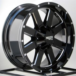 20 inch Black Wheels Rims Chevy Dodge RAM HD 2500 3500 8 Lug Truck Moto Metal