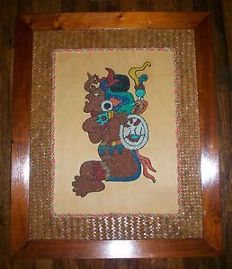 Vintage Retro Aztec Inca Maya Gravel Pebble Wall Hanging Art Picture Mid Century