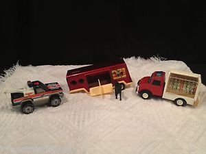 Vintage Buddy L Tootsietoy Lot Horse Trailer w Horse Police Tow RC Truck