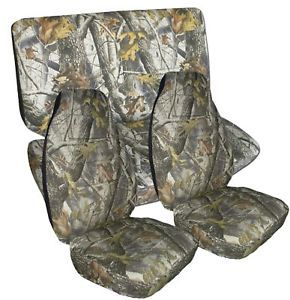 Jeep Wrangler JK Unlimited Car Seat Covers in Camo Real Tree Front and Rear