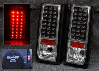 03 09 Hummer H2 SUV Pickup Rear Trunk LED Black Chrome Tail Light Red Reflector