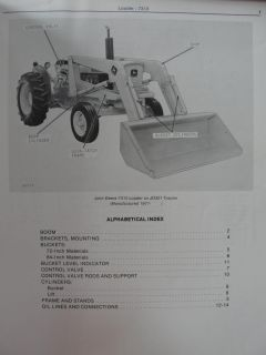 John Deere 7310 Loader for 301 Tractor Parts List Manual Book Catalog