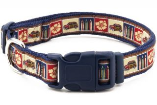 "Douglas Paquette Nylon Dog Collars Leads Harnesses ""Surf Woodie"" Design"