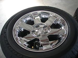 "4 20"" 2013 Dodge RAM 1500 6 Spoke Chrome Factory Wheels Rims Goodyear BL Tires"