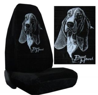 Black Velour Seat Covers Car Truck SUV Basset Hound Silhouette High Back PP X