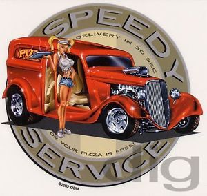 Hot Pizza Delivery Girl in 1930's Panel Wagon Hot Rod Sticker Decal