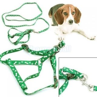 Dog Puppy Pet Bone Paws Leash Lead Harness Rope Green