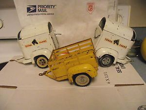 Lot 3 Vintage Tonka Truck Toys Farms 2 Horse Trailer 1 Yellow Stock Trailer