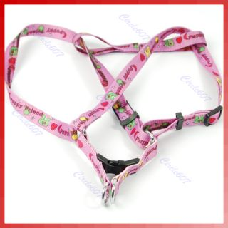 Bone Paws Print Small Dog Pet Leash Lead Harness Pink