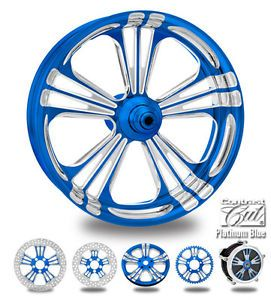 "Custom Color Rims 21"" Wheel Package for Harley Blue Platinum"