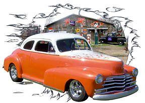 1948 Orange Chevy Coupe Custom Hot Rod Garage T Shirt 48 Muscle Car Tee'S