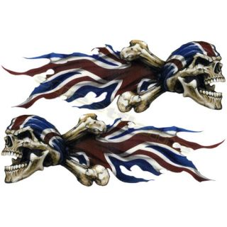 Flaming British Britain English Skull Set Decals Stickers Motorcycles Car Pirate