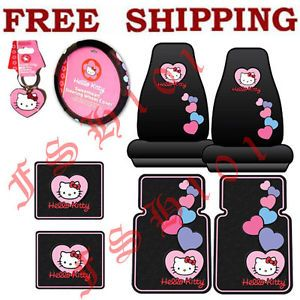 8PC Set Pink Hearts Hello Kitty Seat Covers Steering Wheel Cover Floor Mats