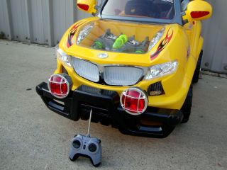 Yellow Kids Ride on Power Jeep Wheels Car RC Remote Control Kids Ride on Car SUV