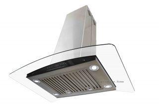 "Europe Exhaust 30"" Stainless Steel Curve Glass Island Range Hood Baffle Filters"