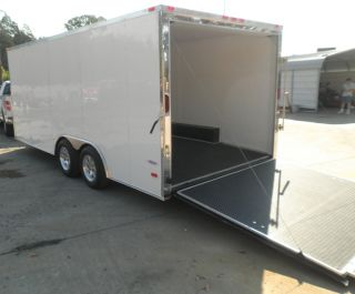 Enclosed Trailer 8 5'x18' White Car ATV Bike Hauler 3500 lb Axles