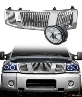 Chrome Vertical Front Hood Grill Grille Bumper Fog Light Lamp 04 07 Titan Armada