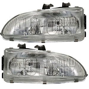 New Pair Set Headlight Headlamp Lens Housing Assembly SAE DOT 92 95 Honda Civic