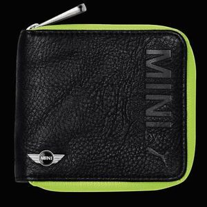 Mini Cooper by Puma Black Leather Wallet Money Credit Card Holder Zip Up New