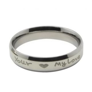 'Your My Love' Silver Titanium Stainless Steel Engagement Promise Ring Set