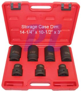 "7 PC 1"" Dr Drive Impact Socket Truck Tire Wheel Square"