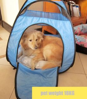 Snew Indoor Outdoor Pet Dog Cat Tent Foldable Collapsible Blue Color