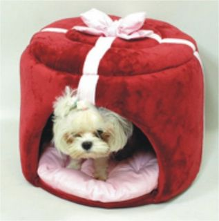 Cute Indoor Pet Dog Cat Cushion Bed Tent House Gift Box