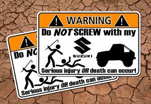 Suzuki Samurai Warning Sticker 4x4 Off Road Mud Rock